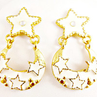 Gold and White Enamel Earrings Stars 1980's