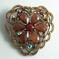 Copper and Pink Red Rhinestone Heart Brooch