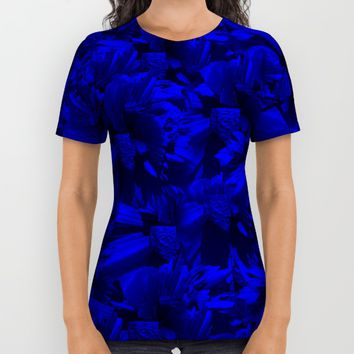 A202 Rich Blue and Black Abstract Design All Over Print Shirt by Gravityx9