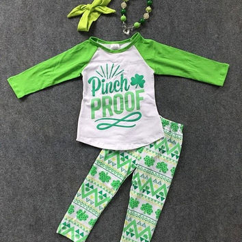 Girls St. Patricks Outfit, St. Patricks Toddler Outfit, St. Patricks Shirt, Pinch Proof, Aztec Leggings, Chevron, St. Patricks