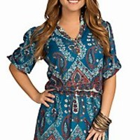 Angie Women's Teal Paisley Print Mock Collar Dress