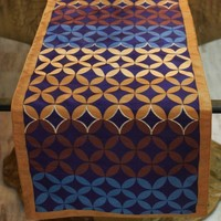 Circle and Diamond Pattern in Navy, Blue,Tan, Gold and Brown w/ Embroidered Accents on 100% Polyester, Bhutan Handmade Table Runner (12x90)