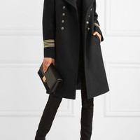 Saint Laurent - Caban grosgrain-trimmed wool coat
