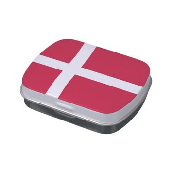 Patriotic candy tins with Flag of Denmark