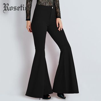 Flare Pants Trousers Women Black Fashion Autumn Slim Bell bottoms Bottoms Casual Wild Sexy High Street Gothic Flare Pants
