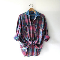 Vintage plaid cotton shirt. washed out shirt. button down shirt. denim collar shirt.