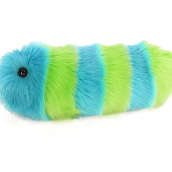 Stuffed Toy Fuzzy Caterpillar Lime Green and Aqua Striped Snuggle Worm