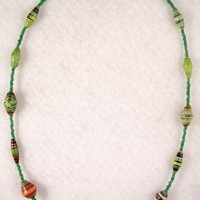 NKBFL03 Necklace made with Handmade Paper Beads