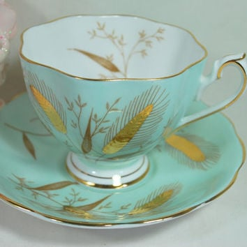 Vtg Tea Set Cup and Saucer Green Aquamarine and Gold Wheat in Fine Porcelain Queen Anne England