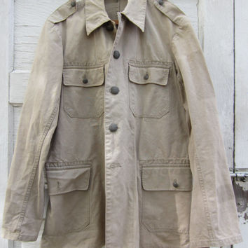 40s Swedish Army Jacket, Men's M, Women's M-L // Vintage Army Khaki Canvas Field Jacket // WW2 Era Military Uniform