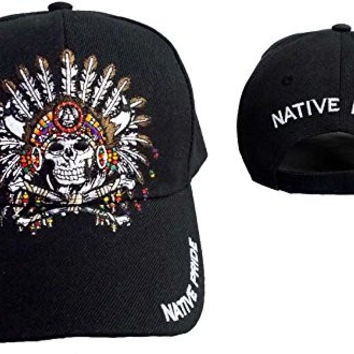 Native Pride Baseball Caps Chief & Skull Embroidered Hat (ASCapNp562)
