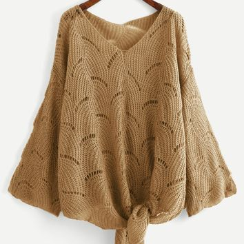 Plus Loose Knit Knot Sweater