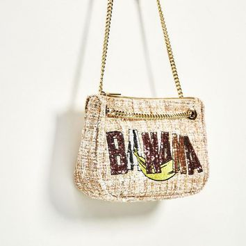 Triple Stone Famous Brand Design Straw Bag Chain Wool Messenger Bag Sequined Glitter Flap Summer Bag For Women Lady Handbag