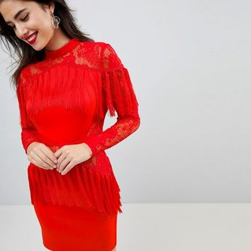 ASOS Ultimate Fringe Long Sleeve Lace Mini Dress at asos.com