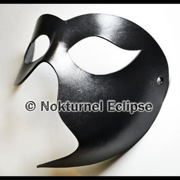 Black Half Face Leather Mask Phantom Fetish Fantasy Masquerade Unisex Costume - Covers LEFT Side