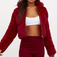 Burgundy Faux Fur Puffer Jacket