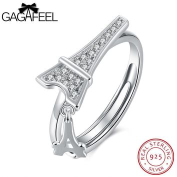 GAGAFEEL Anniversary Couple Ring Sterling Silver Jewelry For Men Paris Tower Opening Rings Clear Cubic Zircon Accessorise