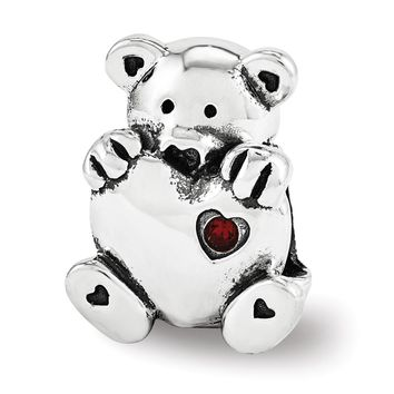 Sterling Silver & Red Crystal Teddy Bear with Heart Bead Charm