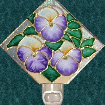 Lavender Pansy Flower Night Light Hand Painted Floral Garden Wall Room Decor Purple Pansies Decorative Nightlight Stained Glass Art