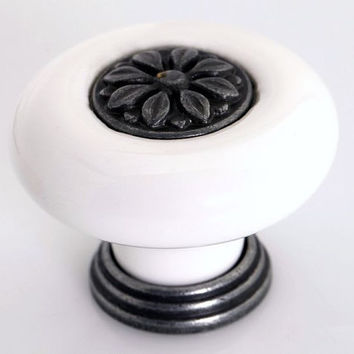 Dresser Knobs / Drawer Knobs Pulls Handles Black White Ceramic / Retro Kitchen Cupboard Cabinet Handles Pull Door Knob Porcelain Hardware