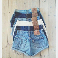 Ripped Jean Shorts- Rolled- Distressed-Concert Ready- Denim