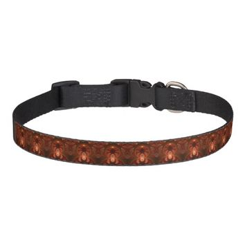 Luminous abstract modern orange red Fractal Pet Collar