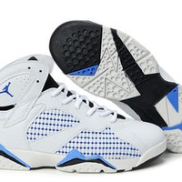 Hot Air Jordan 7 (VII) Retro Women Shoes White Blue Black