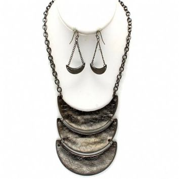 "Meilysha's 20"" Etched Black Boomerang Cascading Necklace Set - As Seen In Sheen Magazine"