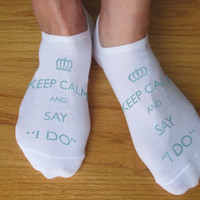 Personalized Custom Printed Keep Calm Wedding Socks - Set of 3 pairs