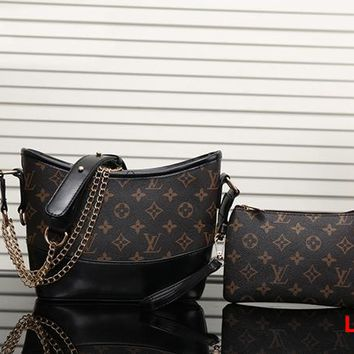 Louis Vuitton LV Women Leather Crossbody Shoulder Bag Satchel Clutch bag Set Two Piece
