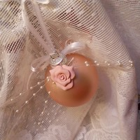 Shabby Chic Christmas Ornament, Pink, white, handmade clay rose, satin ribbon