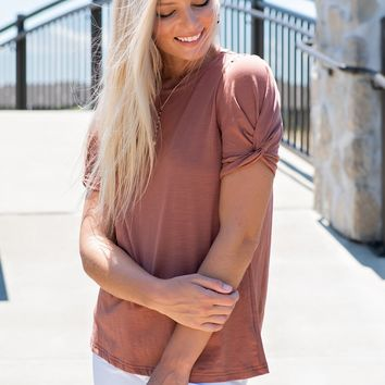 Twisted Love Top: Terra Cotta