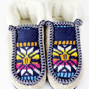 Women's Snowflake Cozy Knit Slippers