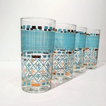 Gold and Blue Mid Century Tumblers, Blue Gold Bar Glasses, Mid-Century Cocktail Glasses, Set of 4 50's Tumblers, Elegant Mid Century Barware