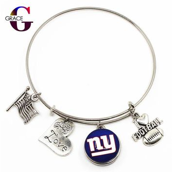 New York Giants Sports Charms Adjustable I Love Football Expandable Women&Men Bangle Bracelets With Ginger Snaps Buttons Jewelry