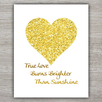 Love Quote Print, Calligraphy Quote, Glitter Decor, Heart Wall Art, Gold Glitter Heart Print, Printable Quote, INSTANT DOWNLOAD