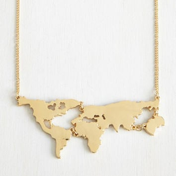 ≫∙∙ Gold Plated World Map Pendant Necklace Jewelry  ∙∙≪