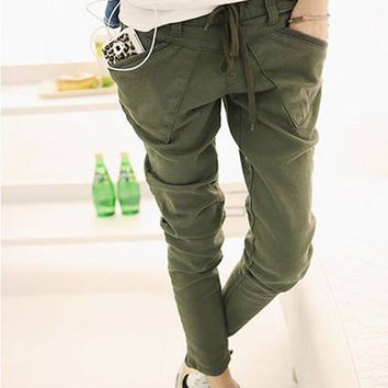 Women's Loose Casual Solid Color Pockets Drawstring Waist Trousers Harem Pants 09WG
