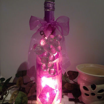 Clear grapes on purple bottle, wine bottle lamp, wine bottle light