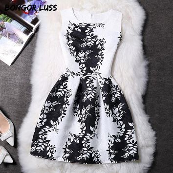 Women Summer Dress Vintage Printed Sexy Sleeveless Party Dresses Female Clothing A-Line Casual Dress Robe