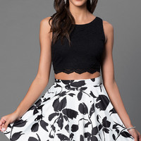 Short Two Piece Dress with Print Skirt by City Triangles