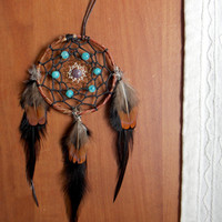 Dream Catcher for Car Rear View Mirror with Turquoise Jasper and Amethyst // Hippie Boho Home Decor