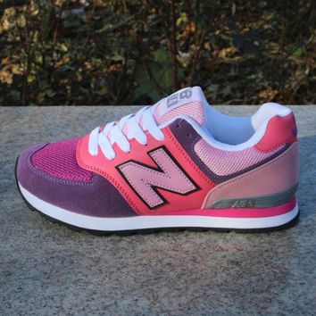 NEW BALANCE Fashion Women Men Casual Running Sport Shoes Sneakers Rose red and blue color