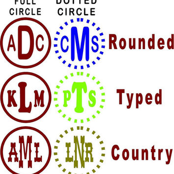 Custom Vinyl Monogram Style Decal Personalized Initials Car wall decal DIY easy to install