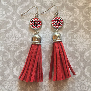 Red Monogram Tassel Earrings, Personalized Earrings - Style 408