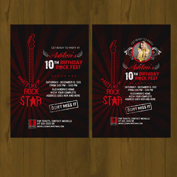 Red Rock Star Invitation - Red Rockstar Party Printable Birthday Invitation - Electric Guitar Rock Concert Poster Invitation