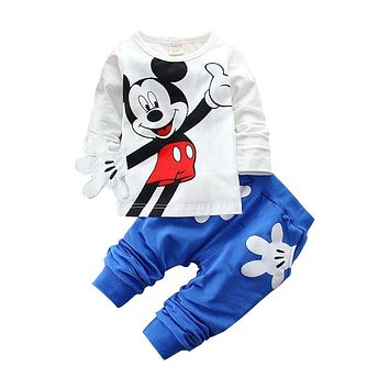 CHCDMP New Boys Girls Clothing Sets Children Cotton Sport Suit Minnie Cartoon T-shirt + Pants Set Baby Kids Fashion Clothes