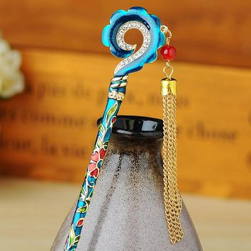 Vintage Women Hairpins Jewelry Special Ethnic Cloisonne Hair Stick Flower Charm Hair Accessories
