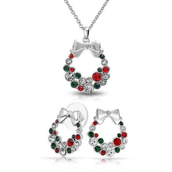 Red Green Crystal Wreath Pendant Silver Plated Necklace Earring Set