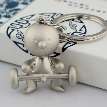 Fashion Accessories Zinc Funny Weightlifting Shape Key chain Silver Color